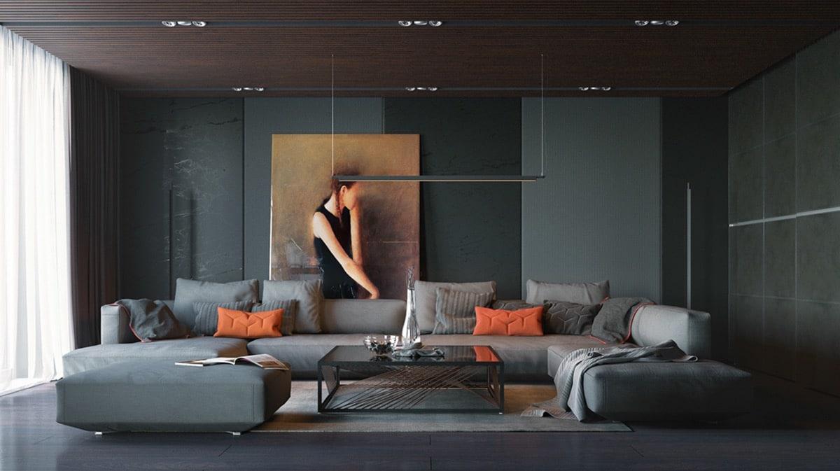 In een modern interieur wordt er gebruik gemaakt van accentkleuren.
