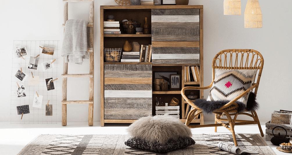 Natuurlijke materialen worden veel gebruikt in een bohemian interieur.