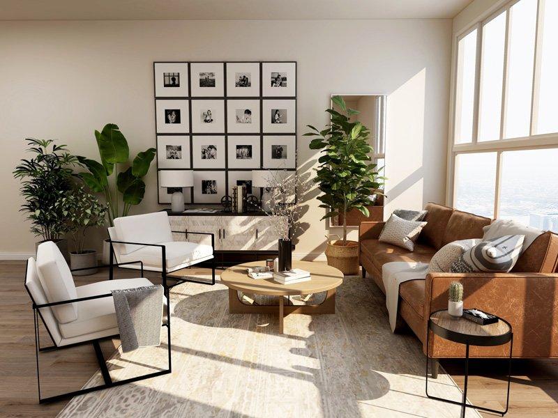 Breng meer sfeer in de ruimte door een groot tapijt op de vloer te leggen in een modern interieur.